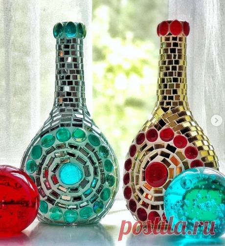 #декорбутылки #декоративнаябутылка #бутылка_ваза #зеркальнаямозаика #стекляннаямозаика