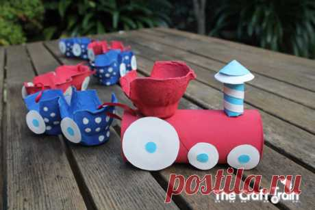 Делаем вместе с ребенком: паровозик из упаковки из-под яиц « At5.ru