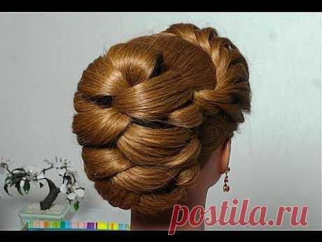 """Вечерняя  с плетением косы """"жгут"""". Evening hairstyle for long hair with twist braid - YouTube"""