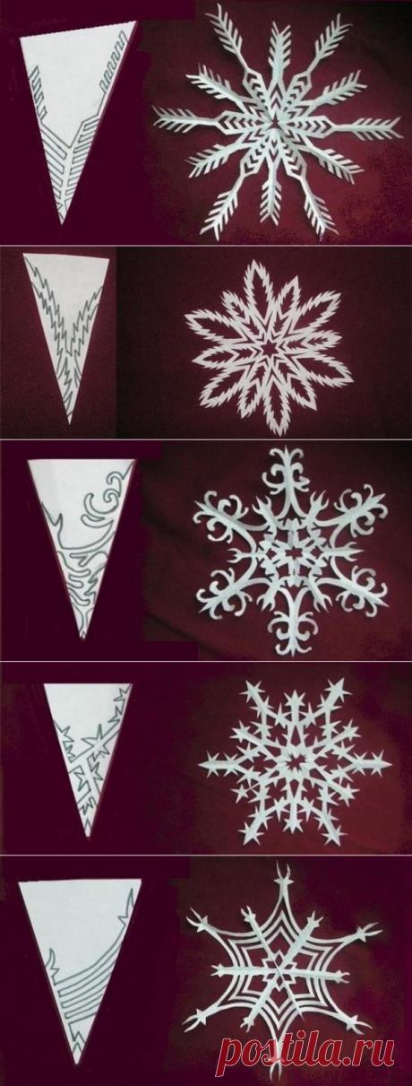 Снежинки из бумаги, несколько вариантов узоров