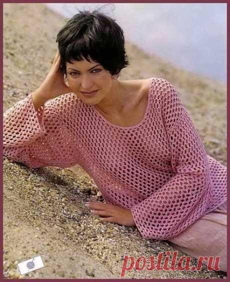 Романтичный ажурный пуловер, крючком
