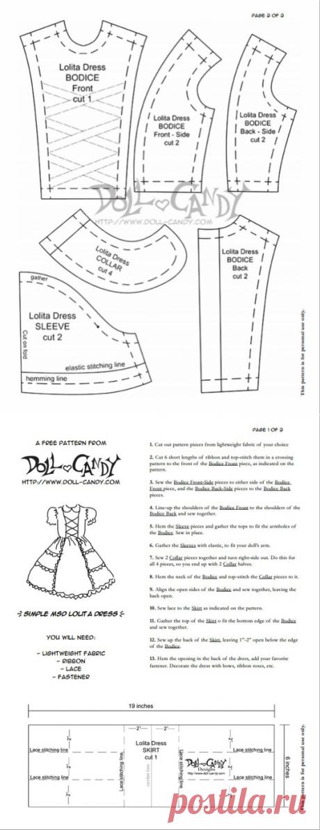Выкройка платья для куклы в стиле Лолита