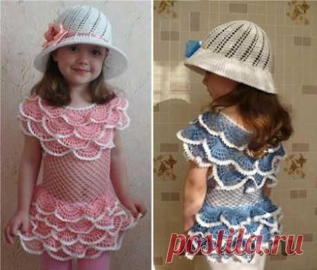 Детское платье крючком с рюшами » Ниткой - вязаные вещи для вашего дома, вязание крючком, вязание спицами, схемы вязания