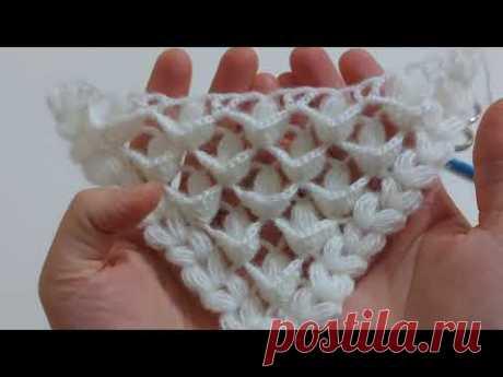 Простой образец треугольной шали крючком / образец вязания шали / учебник по вязанию шали крючком