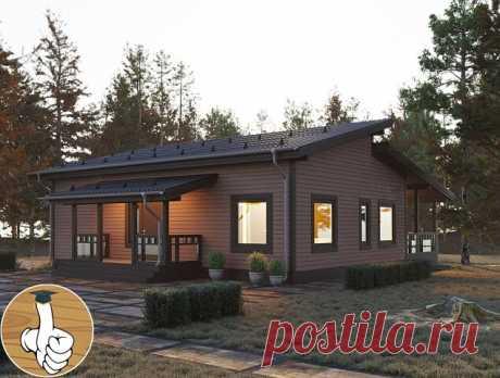 Загородный одноэтажный дом с большими окнами, красивой террасой.
