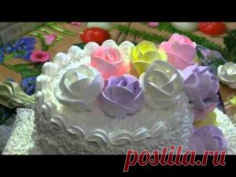 видеоурок украшение торта розами