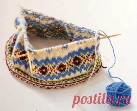 Берет с жаккардовым узором — Схемы для вязания