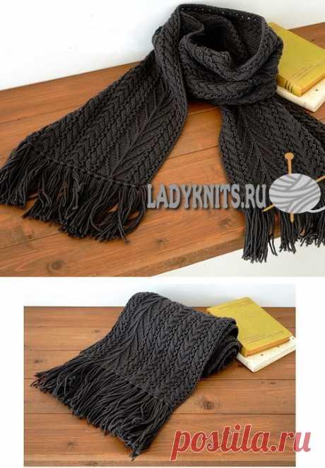 Вязаный спицами красивый мужской шарф с косами