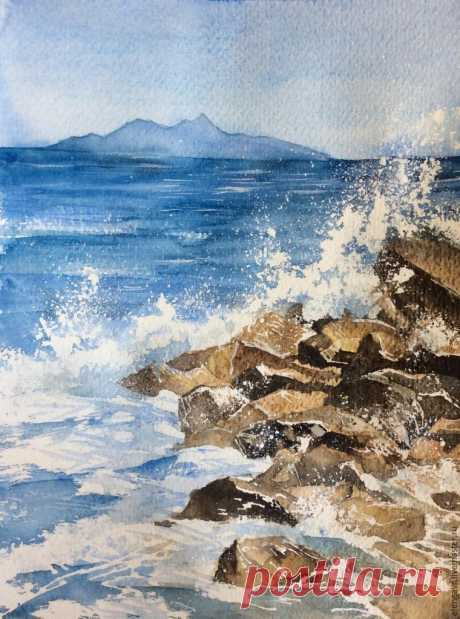 We draw sea splashes a water color