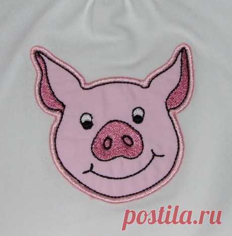 INSTANT DOWNLOAD Pig Applique design This listing is for a super cute pig machine embroidery applique design for a 4 x 4 hoop.    Height: 3.70  Width: 3.71  Color chart included    ***THIS IS NOT AN IRON ON PATCH OR A FINISHED ITEM***  Appropriate hardware and software is needed to transfer these designs to an embroidery machine.    You will receive the following formats: ART - DST - EXP - HUS - JEF - PCS - PES - SHV - VIP - VP3 – XXX in a zipped file ready for immediate d...