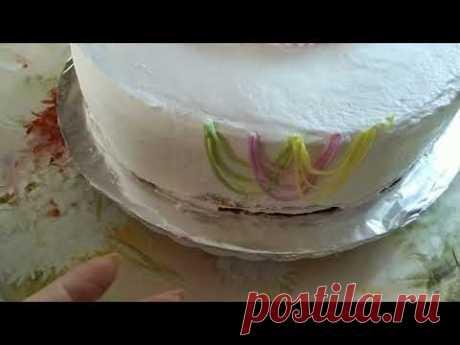 Украшение торта БЗКкремом.Украшение по картинке заказчицы.Cake decoration