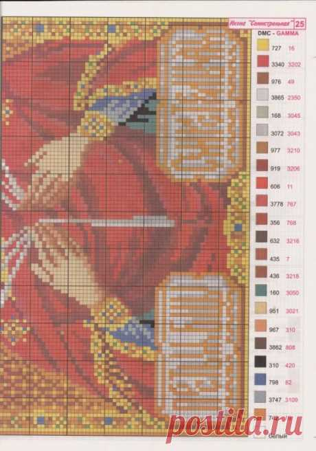 Ч2 Образ Богородицы Семистрельная. Цветная схема для вышивки крестиком бисером