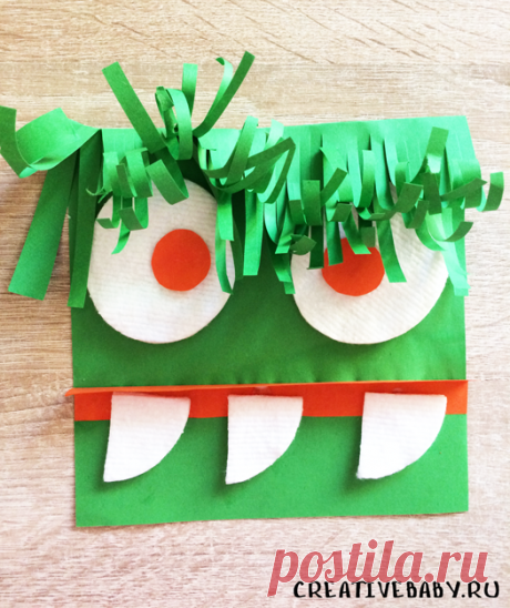 """Как сделать монстра из цветной бумаги и ватных дисков (с шаблоном) Забавная поделка """"Зеленый монстр"""" доставит много радости любому ребенку! Это очень легкая и простая поделка. С помощью такой поделки можно проработать"""