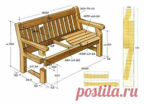 Идеи и чертежи скамеек, сохрани, может пригодится