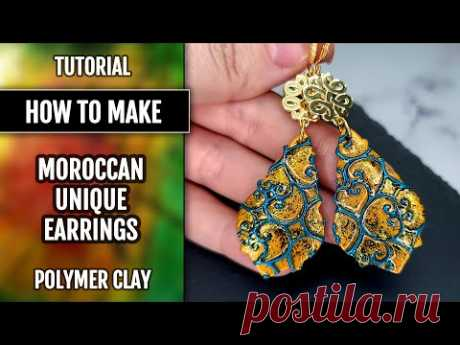 Polymer clay tutorial: How to make Unique Moroccan Style Earrings! Textures and Cutters used! - YouTube