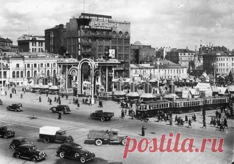 Пушкинская площадь в Москве в 1940 году.