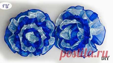 Цветы из органзы. 3Д цветок