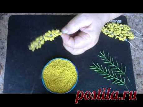 Mimosa branch from beads. The master - a class. Beadwork. - YouTube