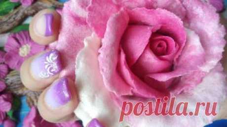 Большая двухцветная роза из солёного теста. Modeling a rose from a salted dough. Подробный пошаговый видео мастер-класс по лепке большой двухцветной розы из соленого теста. Modeling a rose from a salted dough.