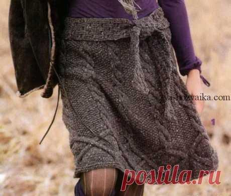 Красивая юбка с косами спицами.Описание и схема вязания спицами юбки Красивая юбка с косами спицами № 5 из твидовой пряжи.Описание и схема вязания спицами юбки