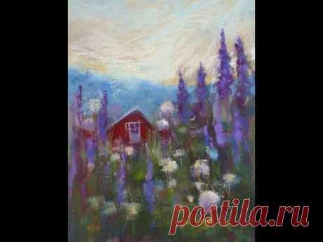 La parte 2я. Las bases de la pintura de lana. El paisaje veraniego con la casita.