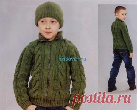 Knitting for boys of a jacket and hat