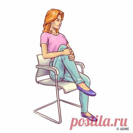 6 ejercicios para el vientre plano, que se puede hacer directamente en la silla