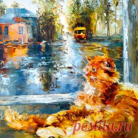 Осеннее настроение 🍂🐱 Художник: Оксана Кравченко.