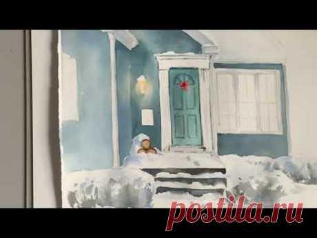 Иллюстрация акварелью «дом»