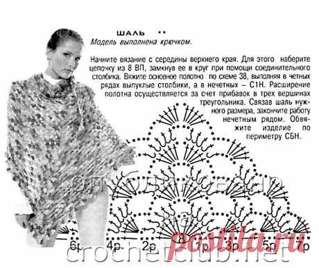 Вязание крючком шали со схемами, описаниями и фото для начинающих