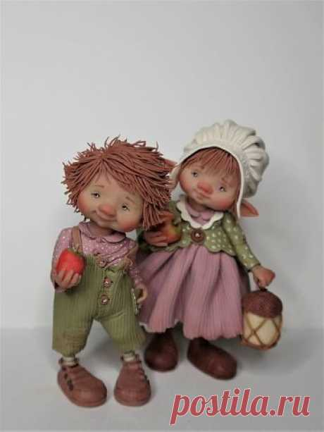 Милые куколки из полимерной глины.