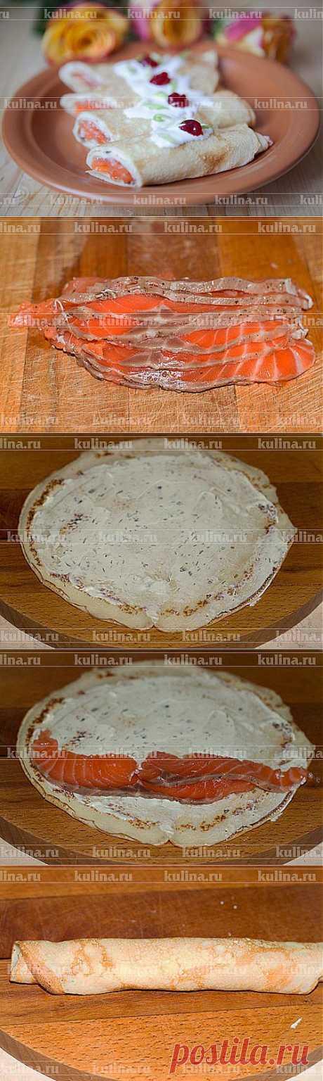 Блины с семгой – рецепт приготовления с фото от Kulina.Ru