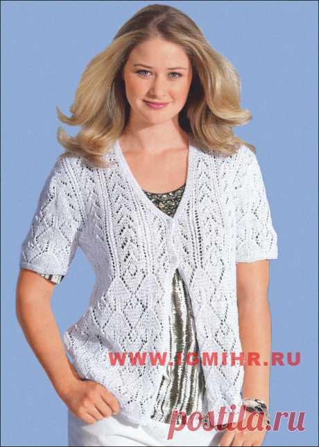 Белый цвет – лучший выбор для лета! Ажурный жакет для пышной дамы. Спицы