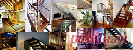 Лестницы на тетивах с различными перилами