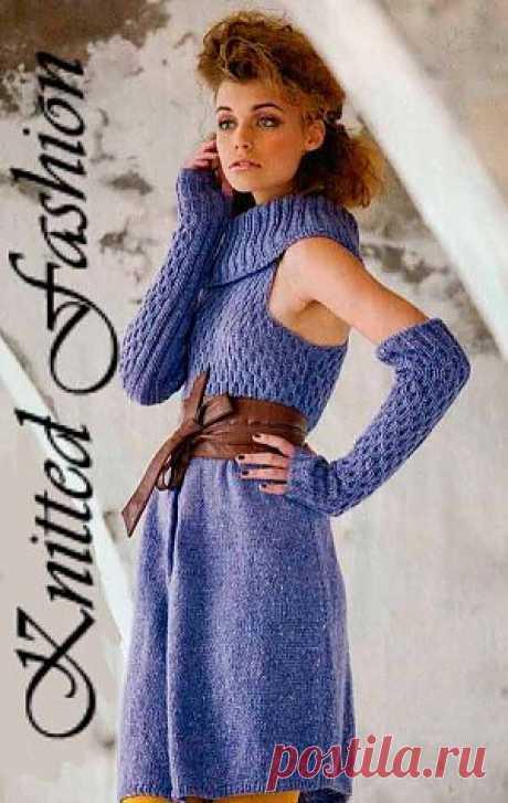 Шикарное платье с митенками - KnittedFashion.info