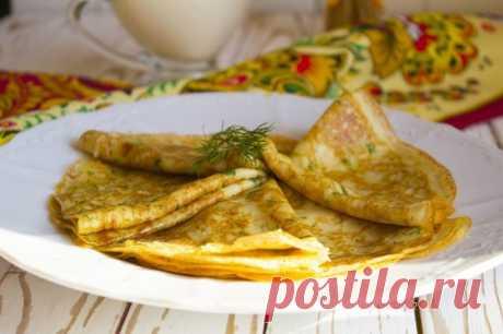 Блины с сыром и зеленью — Sloosh – кулинарные рецепты