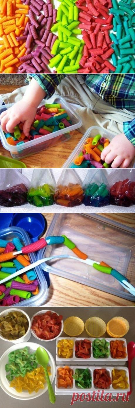 Окрашиваем макароны для детей и играем. - Поделки с детьми   Деткиподелки