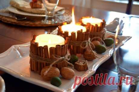 Ароматные свечи в «обертке» из корицы