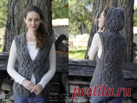 Knitted sleeveless jacket with a hood   the STAY-AT-HOME
