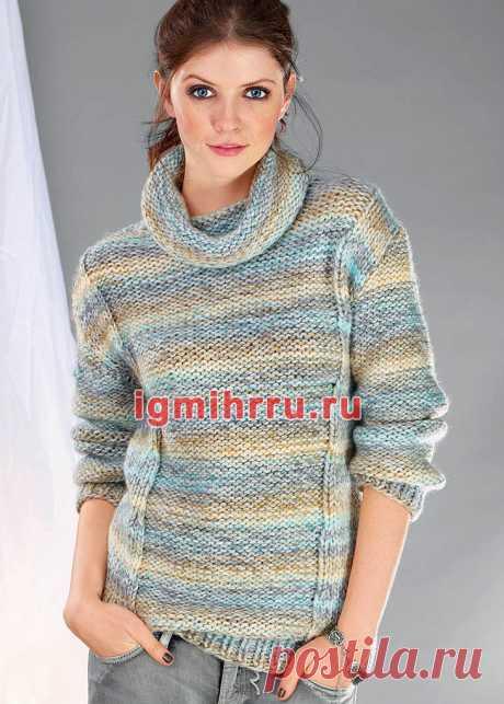 Меланжевый пуловер с воротником хомут. Вязание спицами