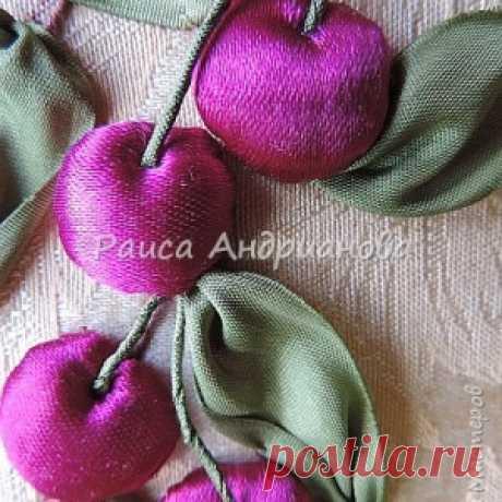 Как вышивают ягоды лентами