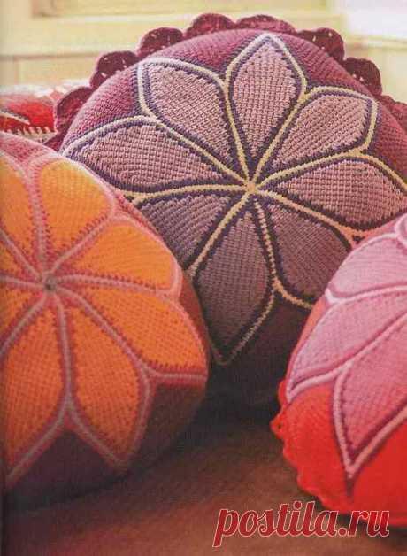 Тунисское вязание. Подушки.