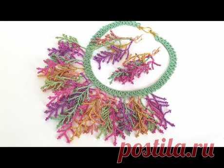 Bead necklace/Diy necklace/Coral stitch/Bracelet/Tutorial/Колье из бисера/Колье своими руками