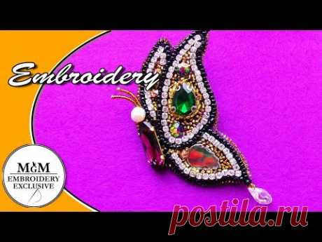 Hand Embroidery  Brooch Butterfly || Вышивка Брошь Бабочка