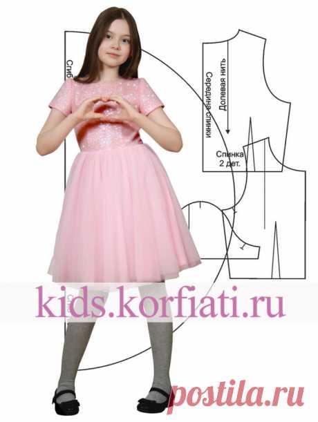Выкройка платья из глиттера и фатина от Анастасии Корфиати