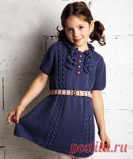 Синее платье с рюшами - Verena.ru