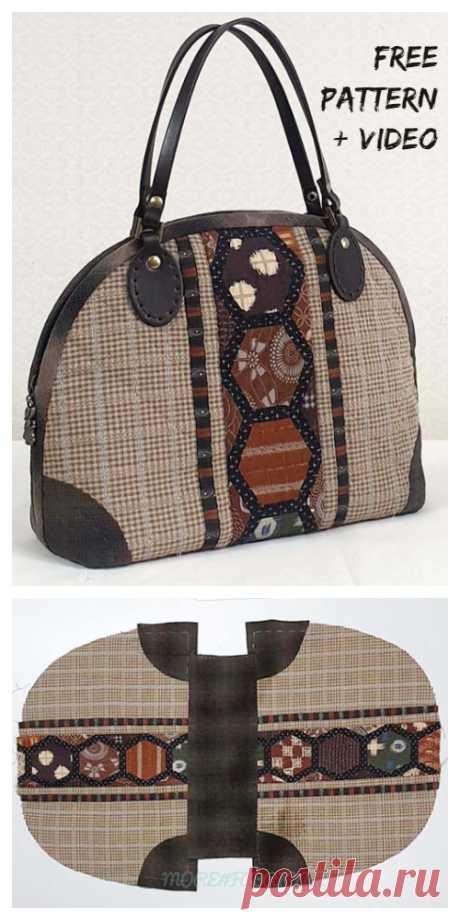 DIY Patchwork Handbag Free Sewing Pattern + Video | Fabric Art DIY