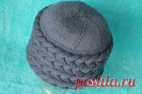 Вязаная шапка с объёмными косами. Мастер-класс по вязанию спицами