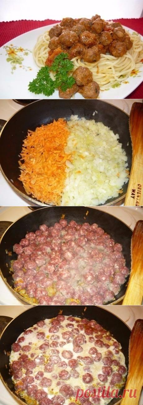 Как приготовить спагетти с фрикадельками - рецепт, ингридиенты и фотографии