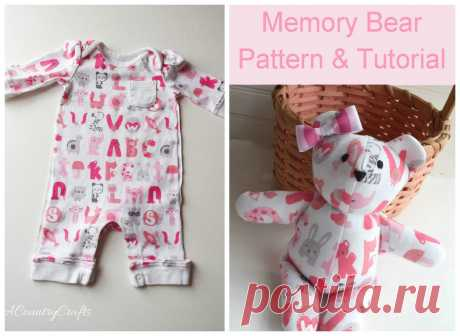 Baby Clothes Memory Bear Pattern and Tutorial — PACountryCrafts Use baby's going home from the hospital outfit to make a cute, stuffed memory bear- free pattern and tutorial with only 4 pieces!